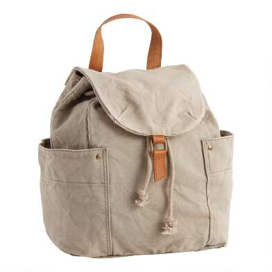 Light Gray Canvas Utility Backpack