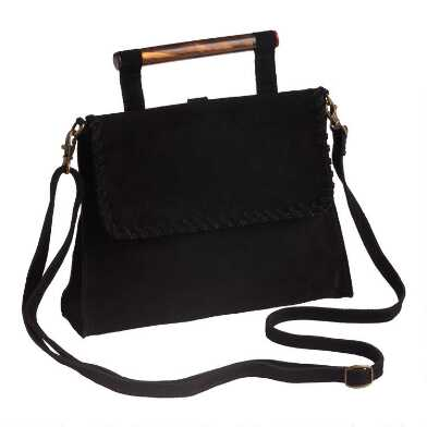 Black Suede And Acrylic Convertible Backpack Bag