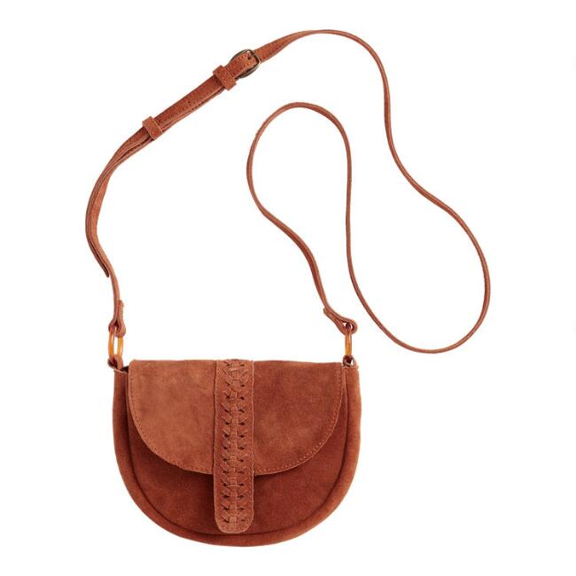 Rust Fold Over Crossbody Saddle Bag