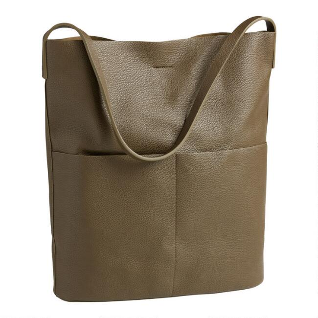 Olive Minimalist Faux Leather Hobo Tote Bag