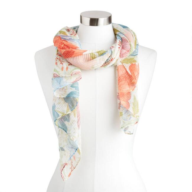 Multicolor Floral Pleated Scarf