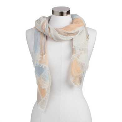 Ivory, Peach And Blue Watercolor Scarf