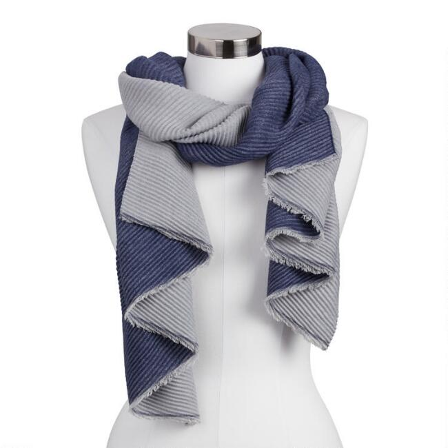 Navy Blue Pleated Soft Scarf