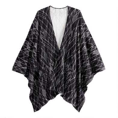 Black And White Geometric Knit Wrap With Pockets