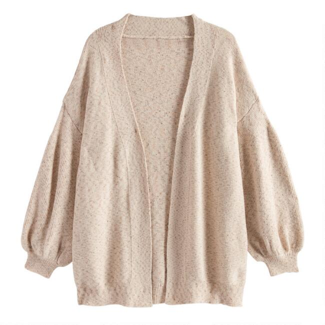 Oatmeal Balloon Sleeve Open Front Ria Sweater