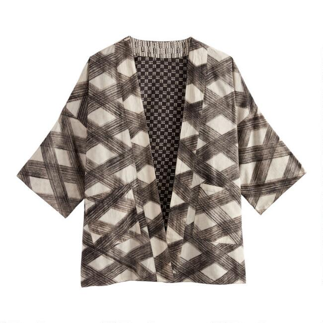 Ivory And Black Geo Reversible Kimono With Pockets