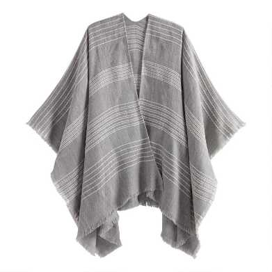 Light Gray And White Striped Textured Wrap