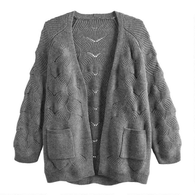 Gray Scallop Weave Sara Sweater With Pockets