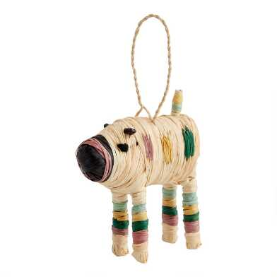 KAZI Natural Fiber Pig Ornament