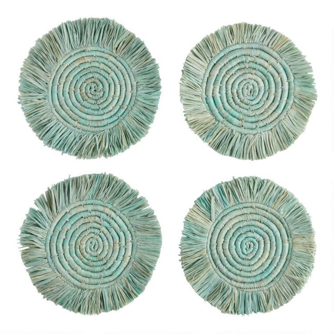 KAZI Green Natural Fiber Coasters With Fringe 4 Pack
