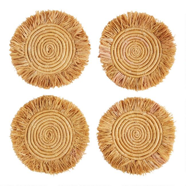All Across Africa Gold Natural Fiber Coasters 4 Pack