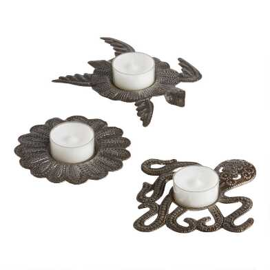 Recycled Metal Tealight Candleholder Set of 3