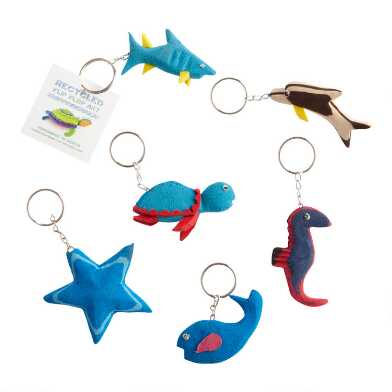 Recycled Flip Flop Foam Animal Keychains Set of 6