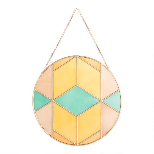 Round Stained Glass and Brass Geo Suncatcher Hanging Decor