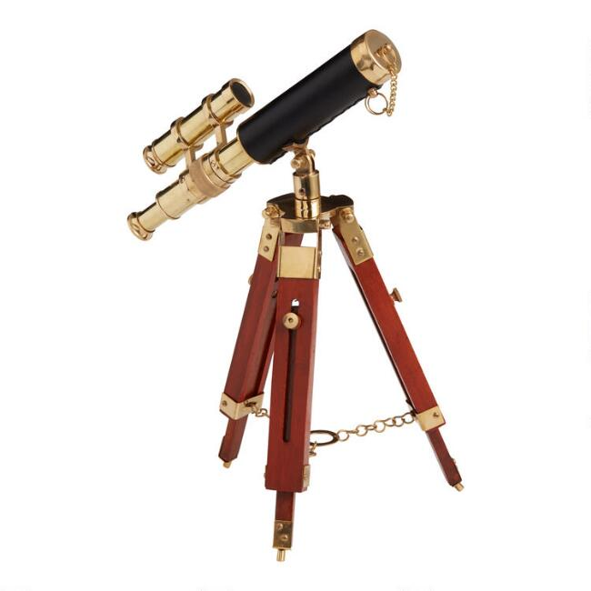 Wood and Brass Telescope Tabletop Decor