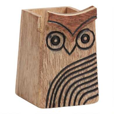 Wood Owl Eyeglass Holder and Pencil Cup