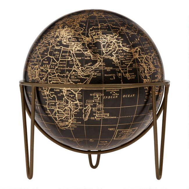 Black and Copper Globe on Hairpin Legs