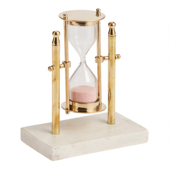 Rotating Brass Hourglass Timer With Stand