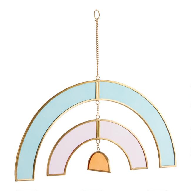 Stained Glass and Brass Rainbow Suncatcher Hanging Decor