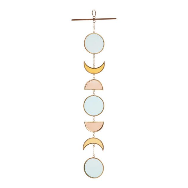 Stained Glass and Brass Moon Suncatcher Hanging Decor