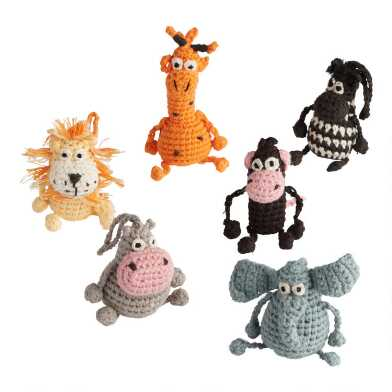 Crochet Animal Ornaments Set of 6