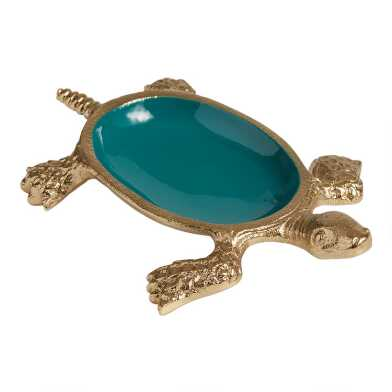 Gold Metal and Green Enamel Turtle Trinket Dish