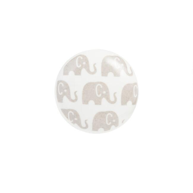 White And Gray Ceramic Elephant Knobs 4 Pack