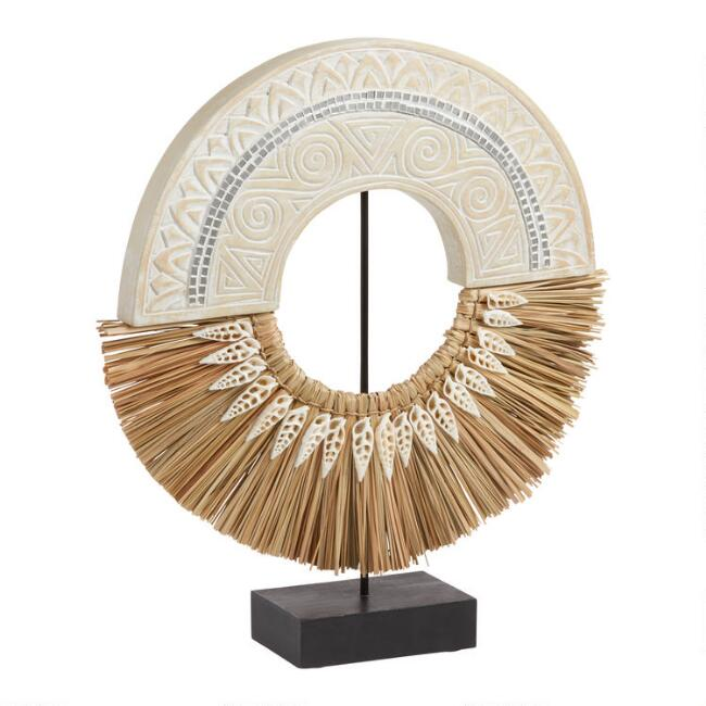 Carved Wood and Grass Ring Decor on Stand