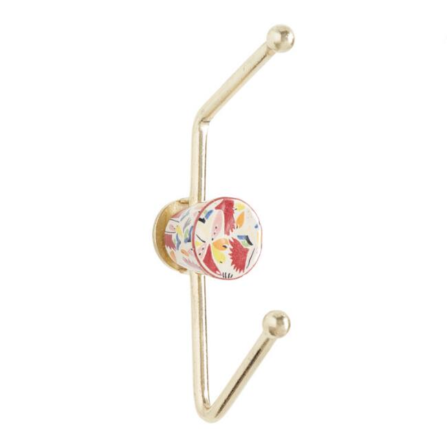 Floral Ceramic and Gold Metal Double Wall Hook