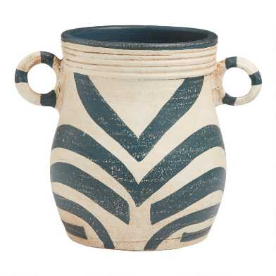 Blue and Cream Terracotta Pot with Handles