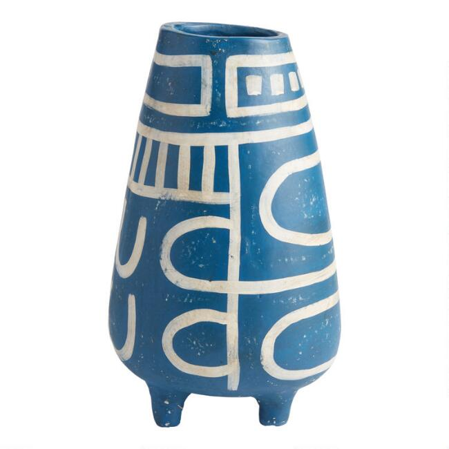 Blue and Cream Terracotta Vase with Feet