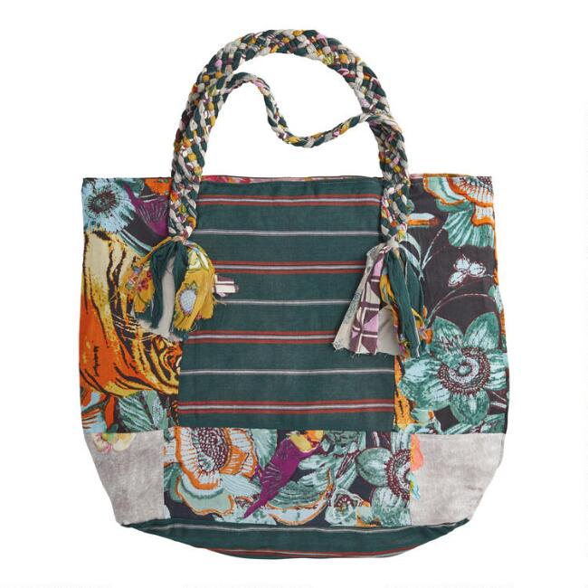 Upcycled Fabric Silaiwali Tote Bag with Braided Handle