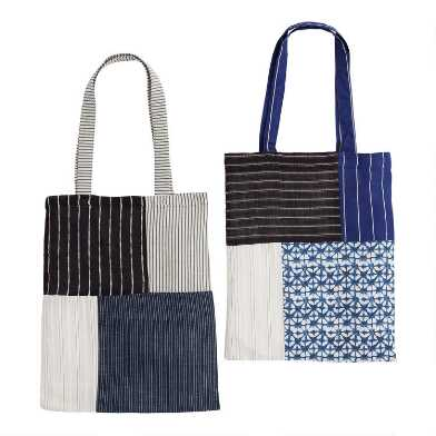 Upcycled Fabric Silaiwali Lightweight Tote Bags Set of 2