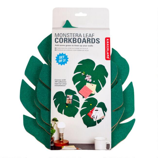 Kikkerland Monstera Leaf Corkboards 3 Pack