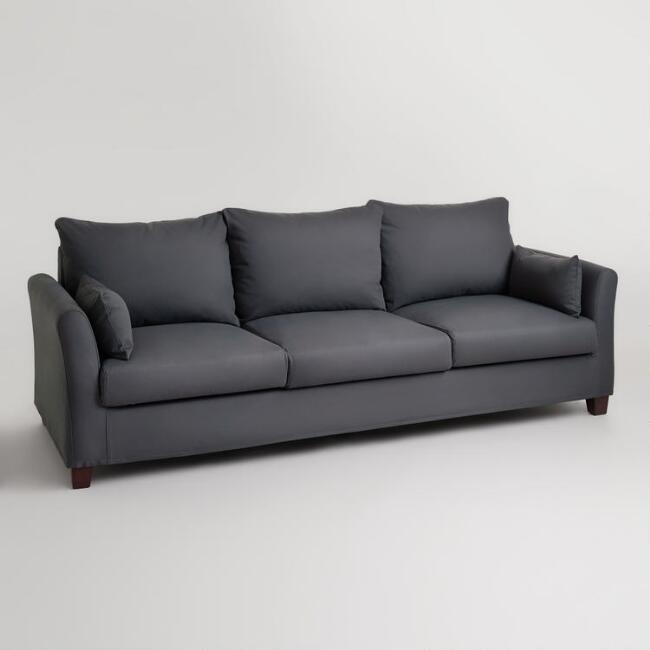 Charcoal Luxe 3 Seat Sofa Frame and Cover