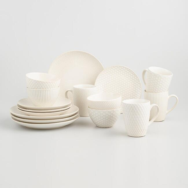 White Textured Stoneware 16 Piece Dinnerware Set