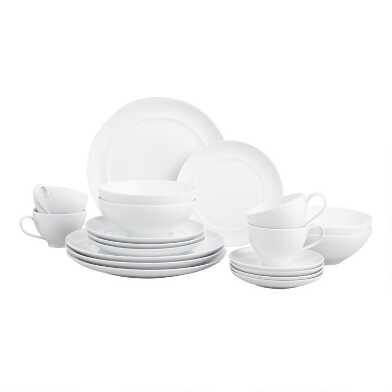 White Spin Dinnerware 16 Piece Set