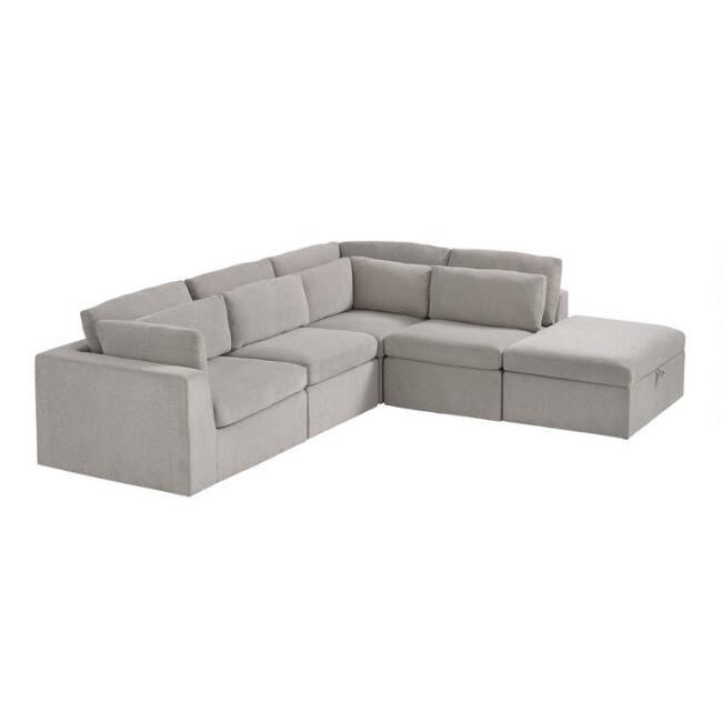 Gray Emmett 5 Piece Square Modular Sectional Sofa