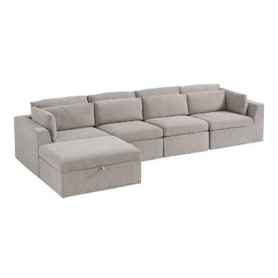 Gray Emmett 5 Piece Long Modular Sectional Sofa