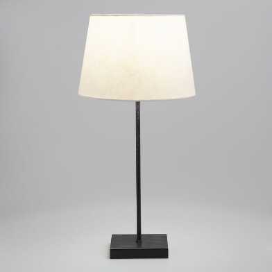 Rustic Black Manvi Accent Lamp With Off White Shade