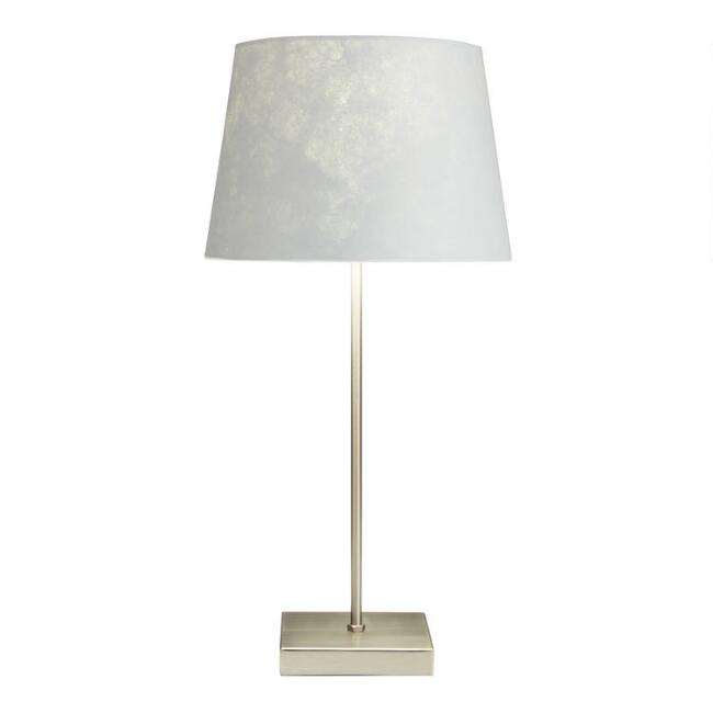 Silver Manvi Accent Lamp with Gray Shade