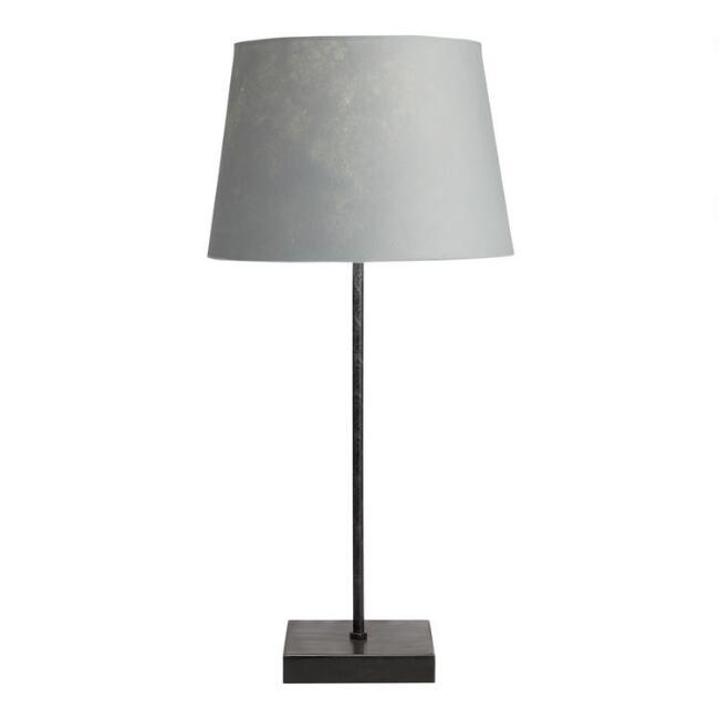 Rustic Black Manvi Accent Lamp with Gray Shade