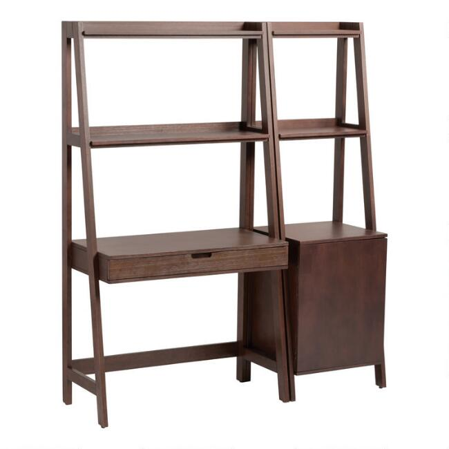 Walnut Modular Elias Desk and Shelf 2 Piece Set