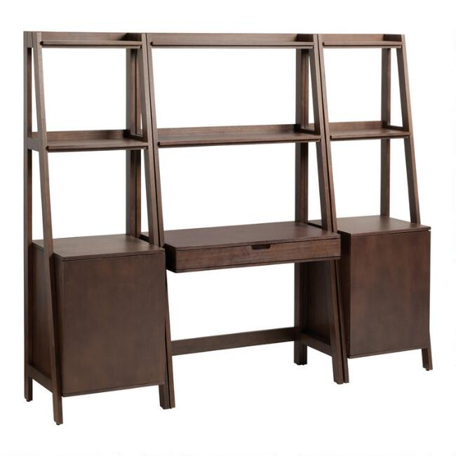 Walnut Brown Modular Elias Desk and Shelves 3 Piece Set