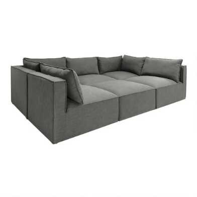 Gray Tyson 6 Piece Modular Pit Sectional Sofa