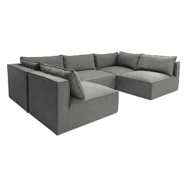 Gray Tyson 5 Piece U Modular Sectional Sofa