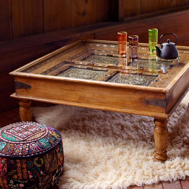 Sudara Carved Coffee Table With Glass