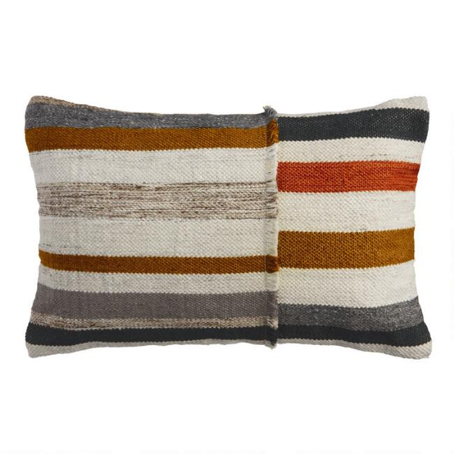 Multicolor Ladder Stripe Indoor Outdoor Lumbar Pillow