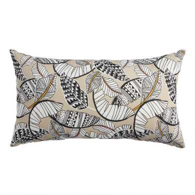 Tan and Black Fantasy Palm Outdoor Lumbar Pillow