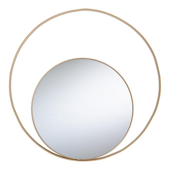Round Gold Floating Haiden Mirror